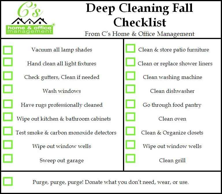 Fall House Cleaning Checklist C S Home Amp Office Management